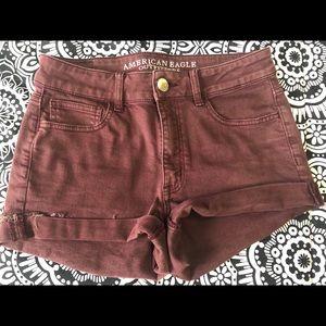 AE maroon jean shorts